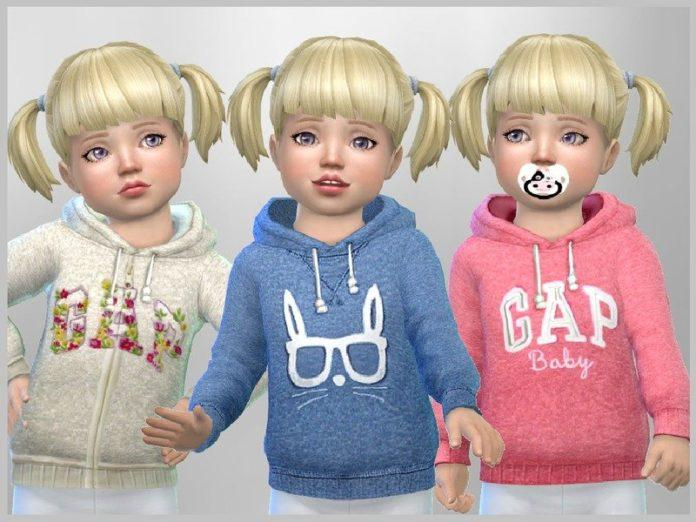 Детская толстовка в вышивкой от SweetDreamsZzzzz для Sims 4