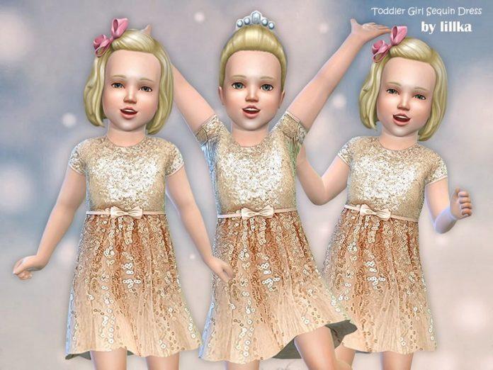 Блестящее платье для девочки от lillka для Sims 4