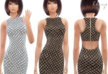 Блестящее вечернее платье от ekinege для Sims 4