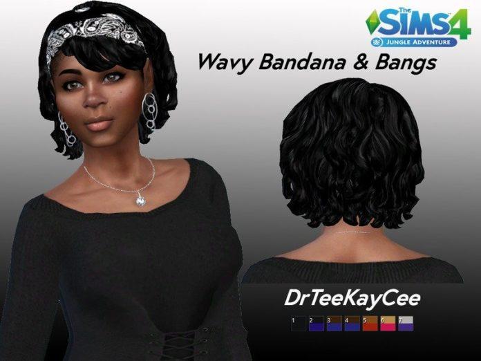 Короткие вьющиеся волосы и бандана от drteekaycee для Sims 4