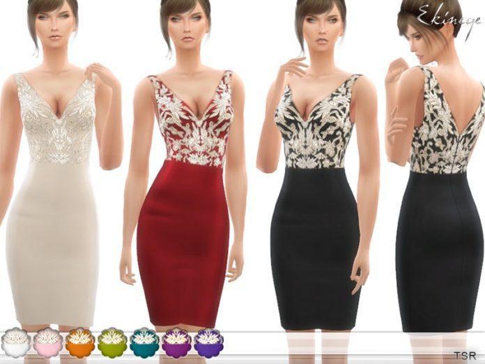 Расшитое вечернее платье от ekinege для Sims 4