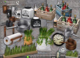 "Набор декораций для кухни ""Индастриал"" от SIMcredible! для Sims 4"