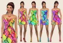 Платье Summer Snake от Paogae для Sims 4