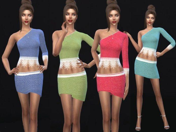 Асимметричный костюм от Sims House для Sims 4