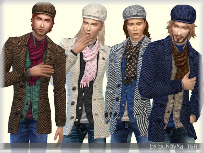 Твидовый пиджак и кепка от bukovka для Sims 4