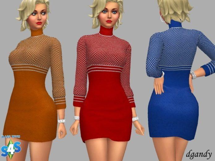 Вязаное платье с пестрым верхом от dgandy для Sims 4