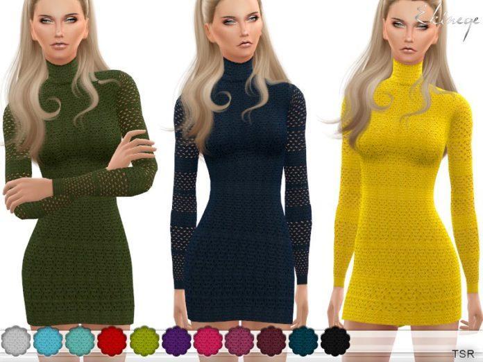 Вязаное платье с сетчатым рукавом от ekinege для Sims 4