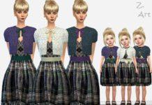 Платье с болеро для малышей и взрослых от Zuckerschnute20 для Sims 4