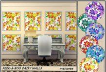 Панели с маргаритками от marcorse для Sims 4