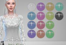Вечернее платье с поясом от Jaru Sims для Sims 4