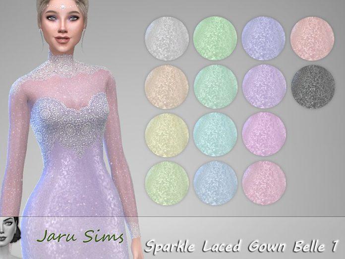 Вечернее платье с кружевом от Jaru Sims для Sims 4