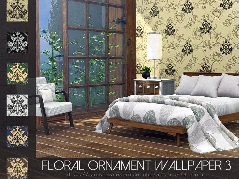 Обои с цветочным орнаментом от Rirann для Sims 4