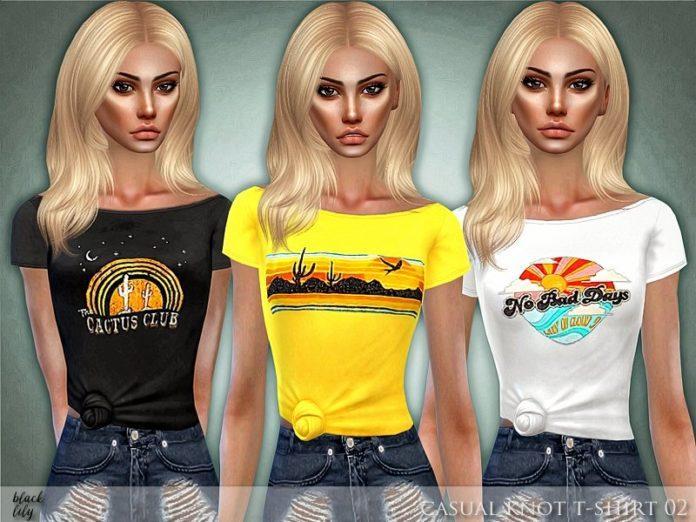 Женская футболка с принтом от Black Lily для Sims 4