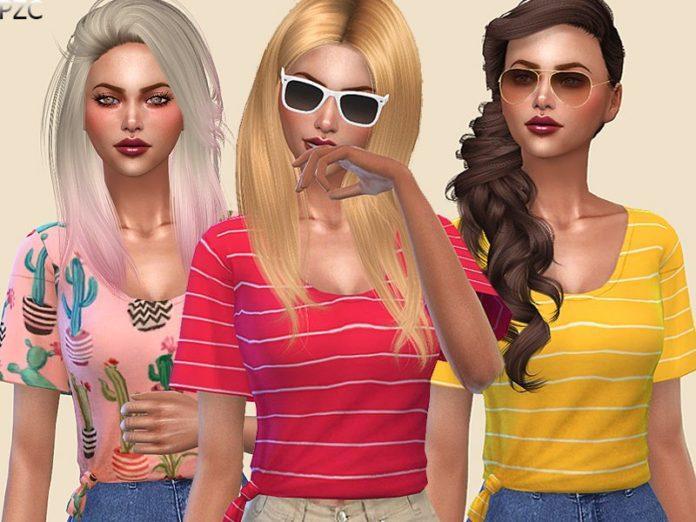 Женская футболка от Pinkzombiecupcakes для Sims 4