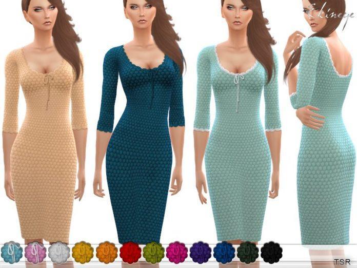 Вязаное платье миди от ekinege для Sims 4