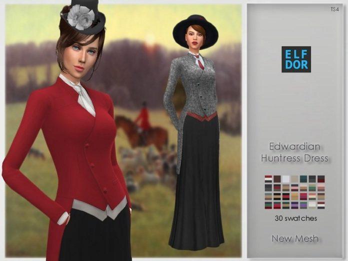 Эдвардианский охотничий костюм от Elfdor для Sims 4