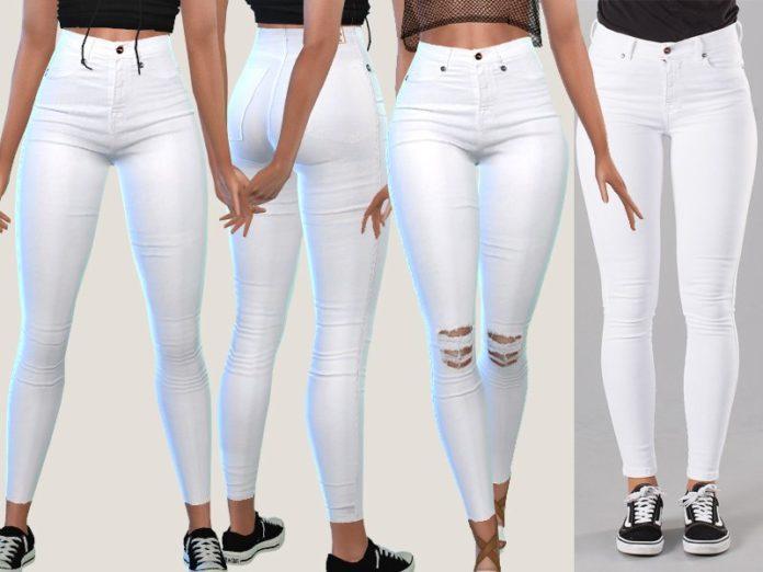 Белые джинсы от Pinkzombiecupcakes для Sims 4