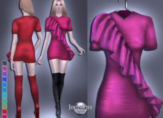 Короткое платье с воланом от jomsims для Sims 4