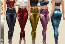 """Кожаные штаны """"Радуга"""" от Birba32 для Sims 4"""