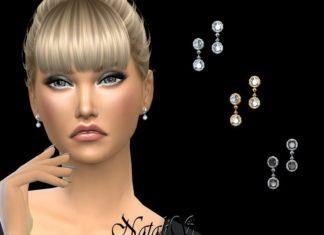 "Серьги ""Double round"" от NataliS для Sims 4"