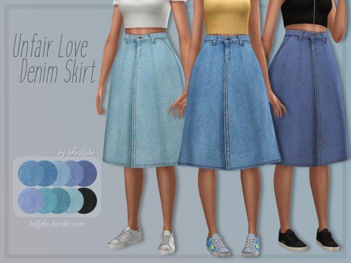 Джинсовая юбка миди от Trillyke для Sims 4