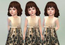 Детское атласное платье с цветами от lillka для Sims 4