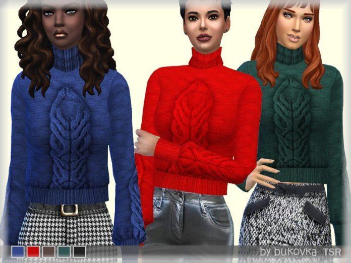 Женский свитер с узором от bukovka для Sims 4