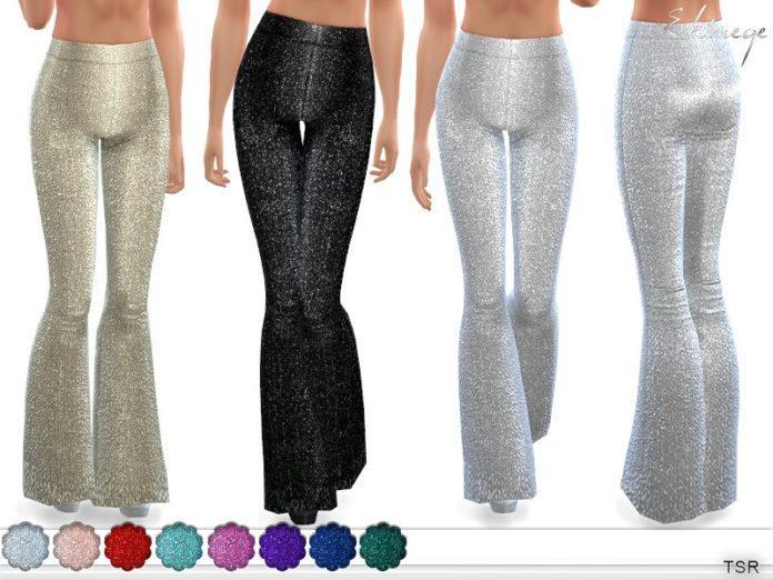 Блестящие брюки-клёш от ekinege для Sims 4