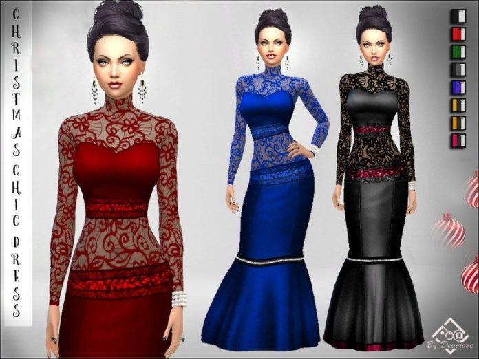 Вечернее платье от Devirose для Sims 4