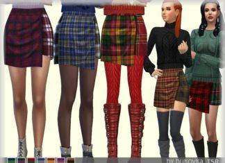 Клетчатая юбка с запАхом от bukovka для Sims 4