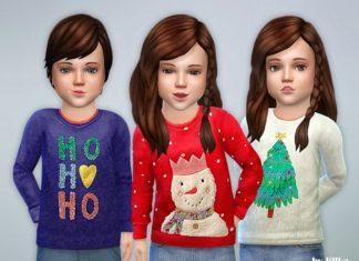 Рождественские детские толстовки от lillkaдля Sims 4