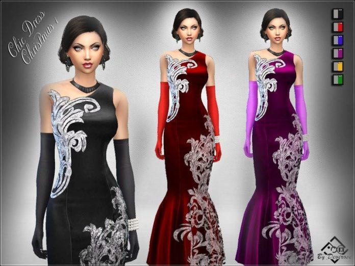Бархатное вечернее платье от Devirose для Sims 4
