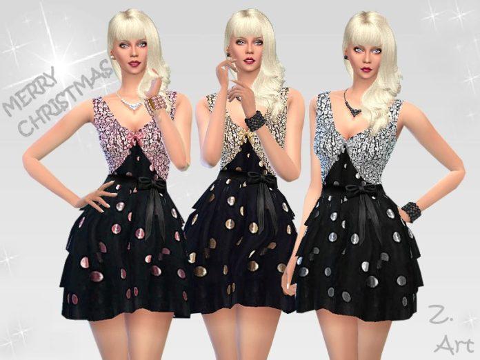Блестящее платье с трехъярусной юбкой от Zuckerschnute20 для Sims 4