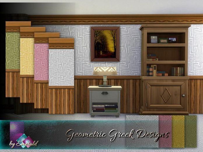 Обои и ковролин с греческими узорами от emerald для Sims 4