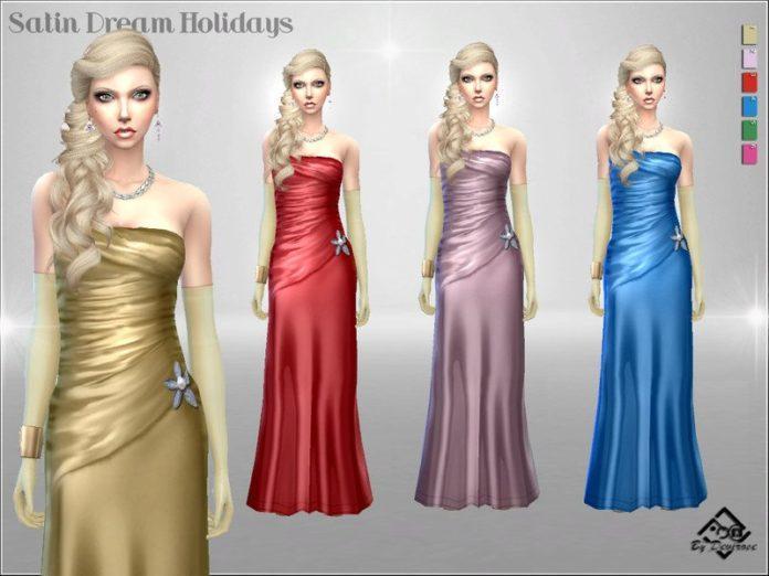 Атласное вечернее платье от Devirose для Sims 4