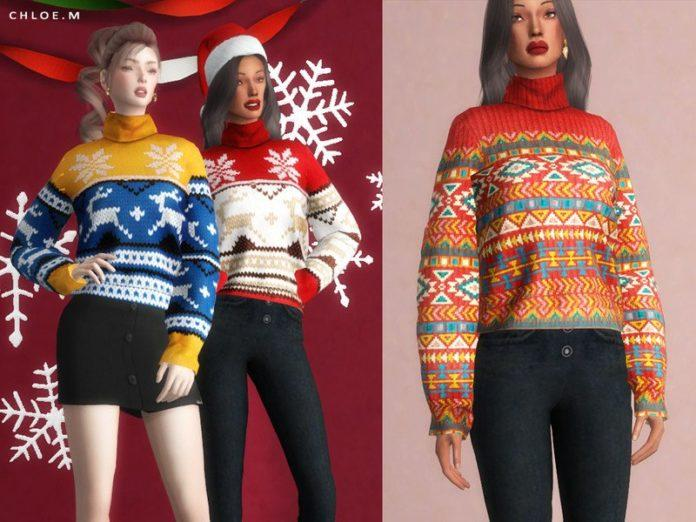 Женский свитер с оленями от ChloeMMM для Sims 4