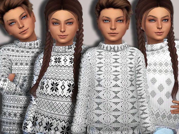 Рождественский детский свитер с узором от MSQSIMS для Sims 4