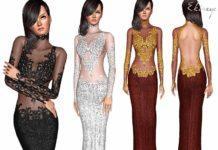 Вечернее платье с кружевом от ekinege для Sims 3