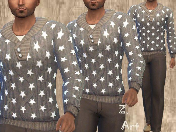 Мужской свитер со звездочками от Zuckerschnute20 для Sims 4