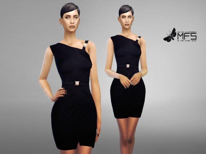 Черное платье Клэр от MissFortune для Sims 4