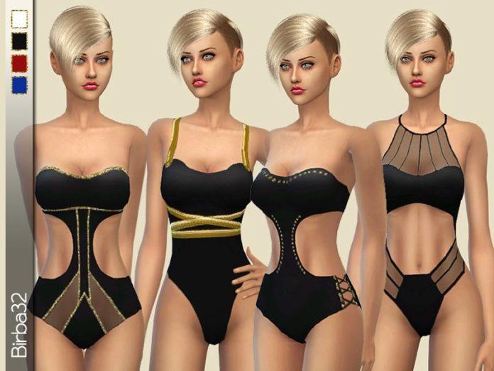 Набор слитных купальников от Birba32 для Sims 4