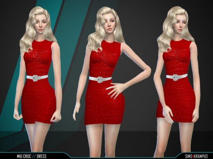 Красное крокодиловое платье от SIms4Krampus для Sims 4