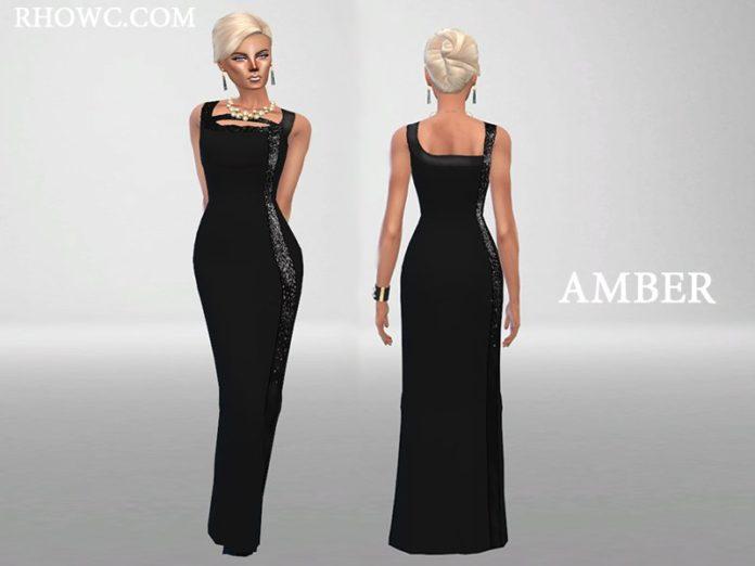 Вечернее платье Янтарь от RHOWC для Sims 4