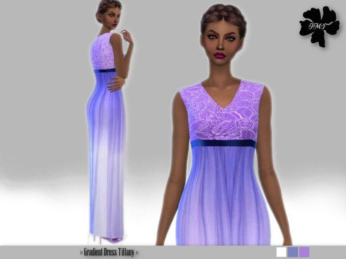 Платье с градиентной окраской от IzzieMcFire для Sims 4