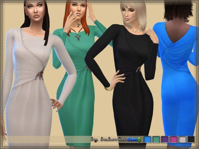 Вечернее платье с брошью от bukovka для Sims 4