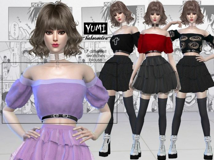 Блузка-топ YUMI от Helsoseira для Sims 4