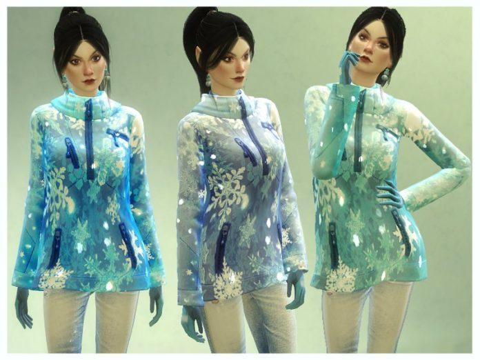 Зимняя куртка с блестками от Nalae для Sims 4