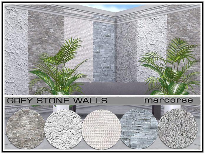 Каменное покрытие стен от marcorse для Sims 4