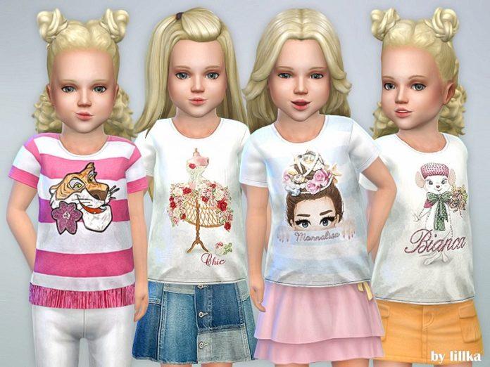 Скачать Футболка для девочки с рисунком от lillka для Sims 4