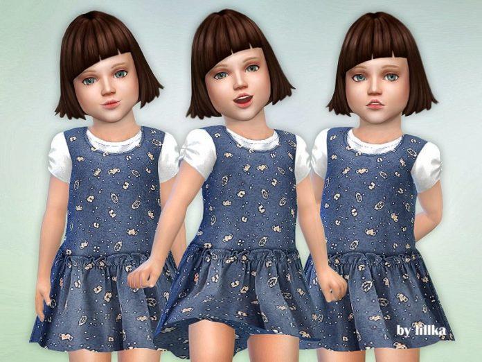 Синий сарафан для девочки от lillka для Sims 4